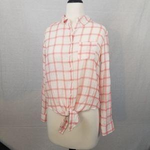 Ivanka Trump pink button up plaid shirt